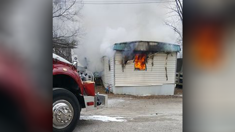 A Centerville mobile home park evacuated after a fire destroyed one of the homes there. (Courtesy: Zany Fry )