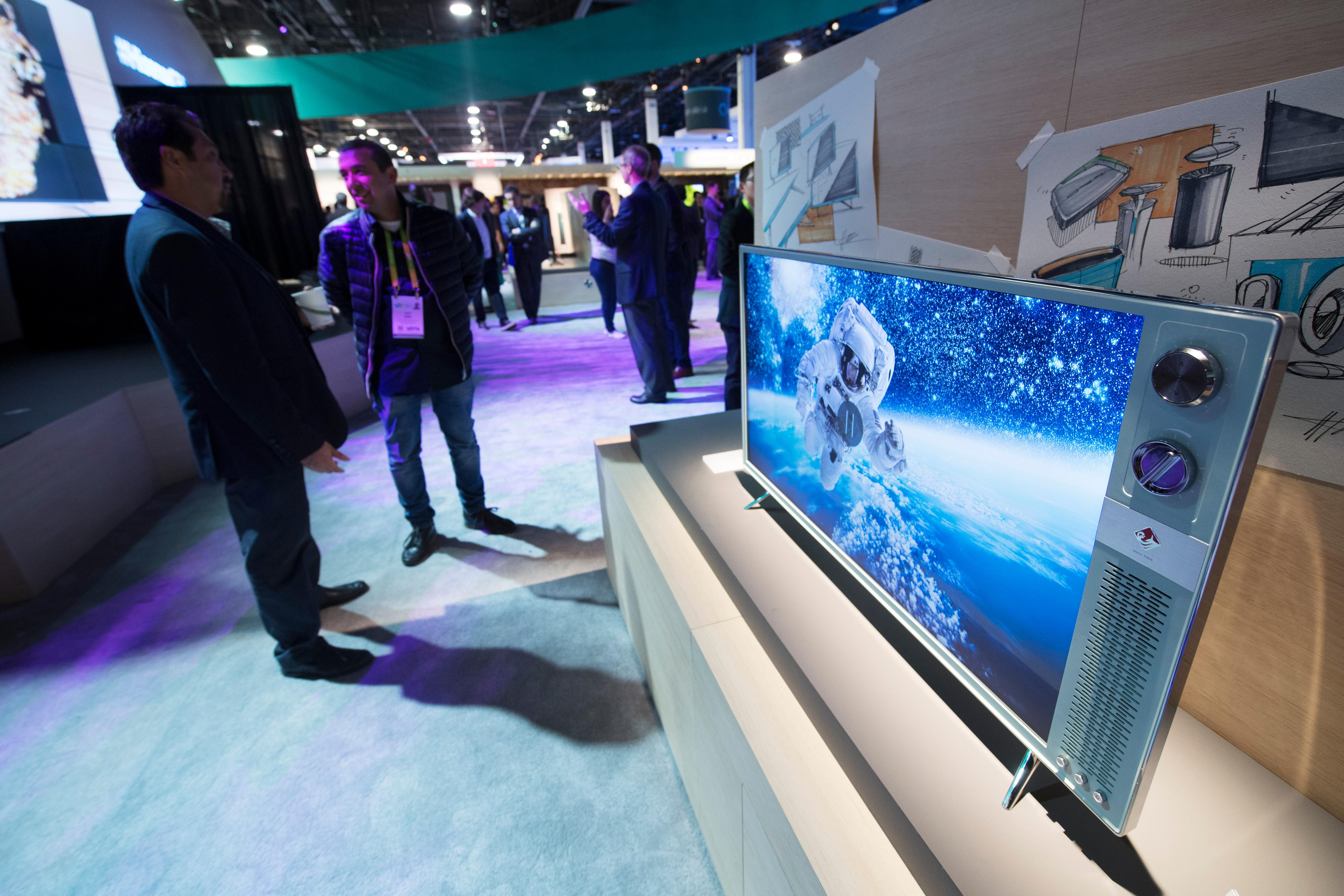 "A modern television with ""retro"" styling from Hisense is on display during the second day of CES Wednesday, January 10, 2018, at the Las Vegas Convention Center. CREDIT: Sam Morris/Las Vegas News Bureau"