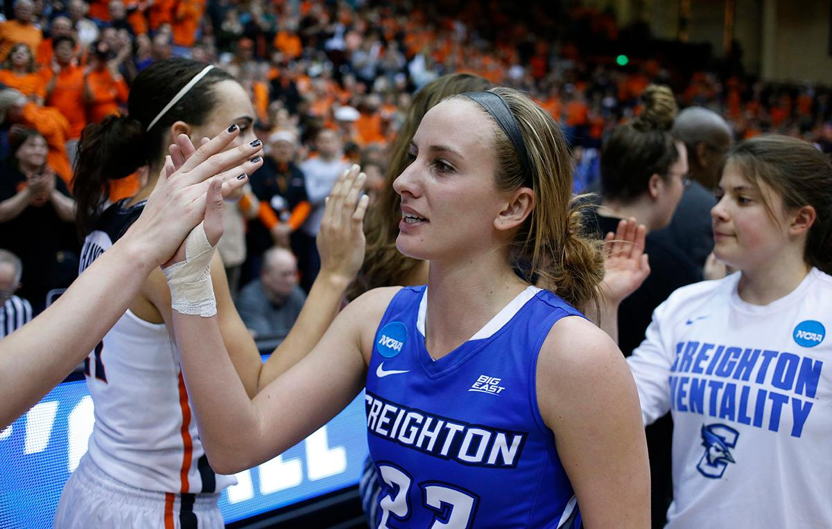 Creighton's Marissa Janning (23) congratulates Oregon State players after Oregon State's 64-52 win in a second-round game in the NCAA women's college basketball tournament Sunday, March 19, 2017, in Corvallis, Ore. (AP Photo/Timothy J. Gonzalez)