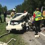 1 in serious condition, 1 ticketed following car vs. tractor accident