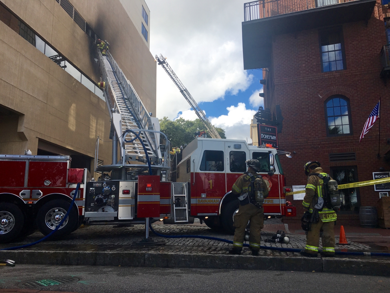 Fire broke out Monday morning at the Hyatt Hotel in Downtown Savannah (Credit: Josie Gregory)
