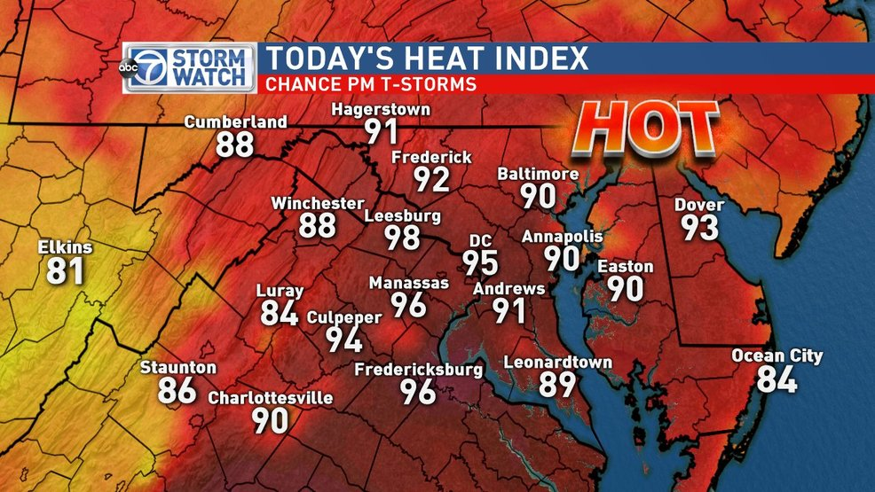 Hottest day of week with higher humidity, possible afternoon Thunderstorm on Thursday