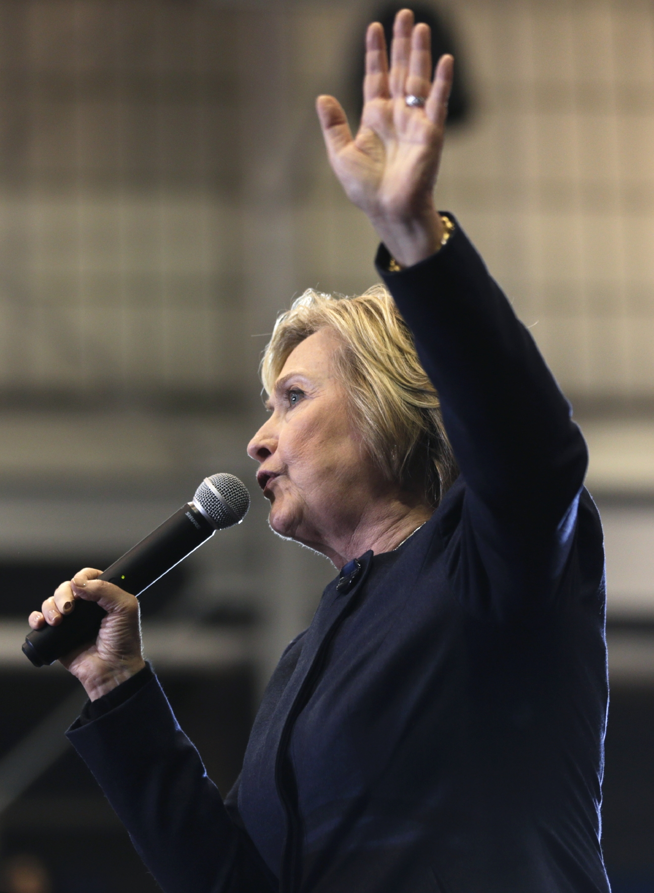 Democratic presidential candidate Hillary Clinton speaks during a rally at Cohoes High School on Monday, April 4, 2016, in Cohoes, N.Y. (AP Photo/Mike Groll)