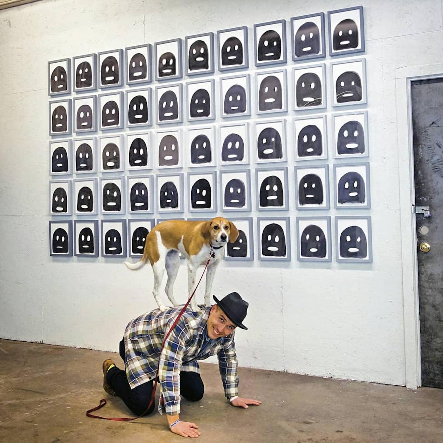 "LOCATION: Michael Stilloin's ""Ghosts"" at DC Smith and Co Art Gallery at Felsenhous 242 / Mollie is a local Instagram celebrity. Famous for posing on fire hydrants in front of ArtWorks murals (and other Cincy landmarks), this hound dog has officially stolen our hearts. You can follow her adventures on Instagram @molliethehounddoggie / Image: Patti Mossey (Mollie's owner and #1 fan) // Published: 5.1.18"