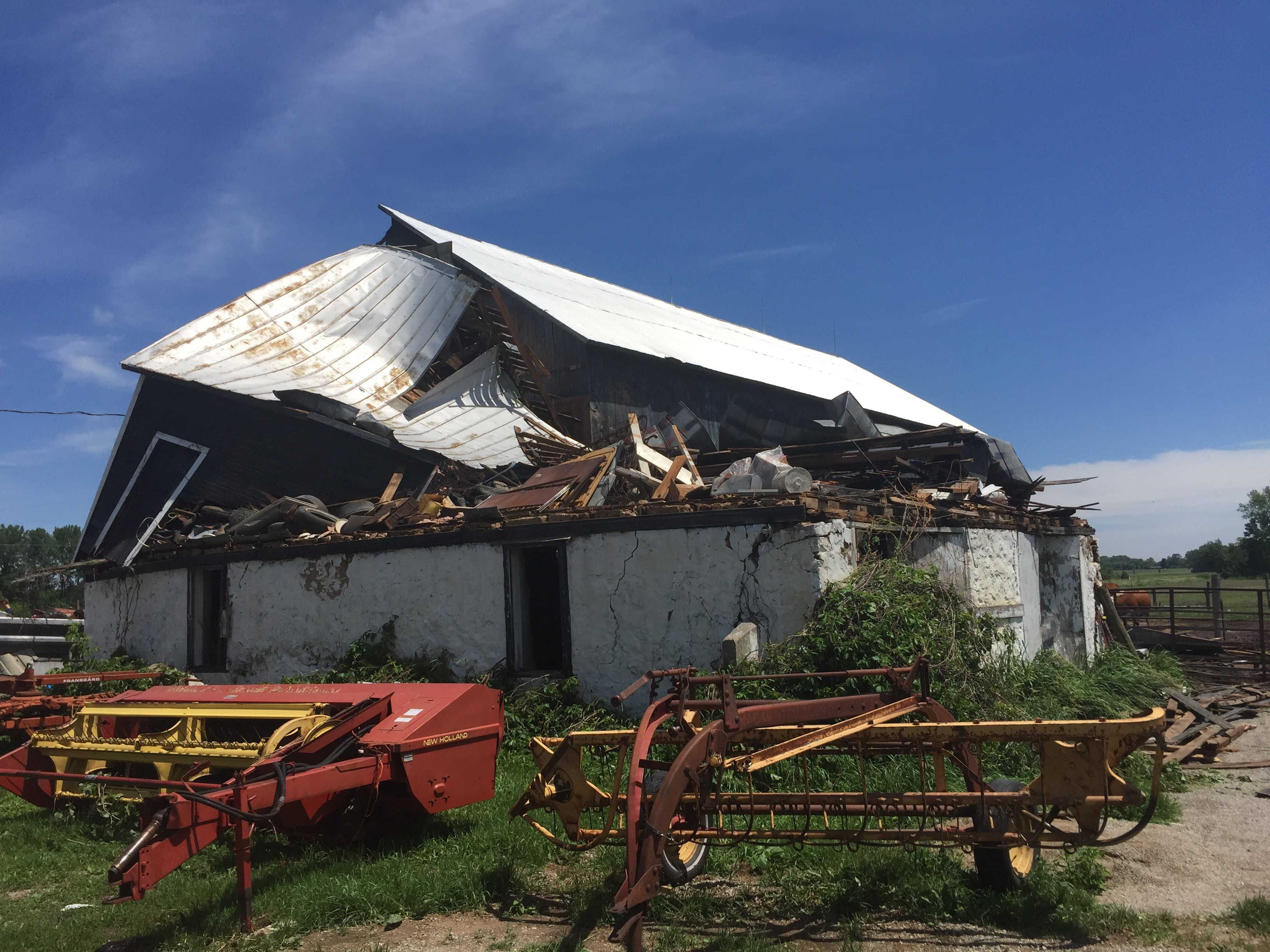 A barn in Navarino shows damage June 15, 2017, resulting from storms the previous night. (WLUK/Jake Swanson)
