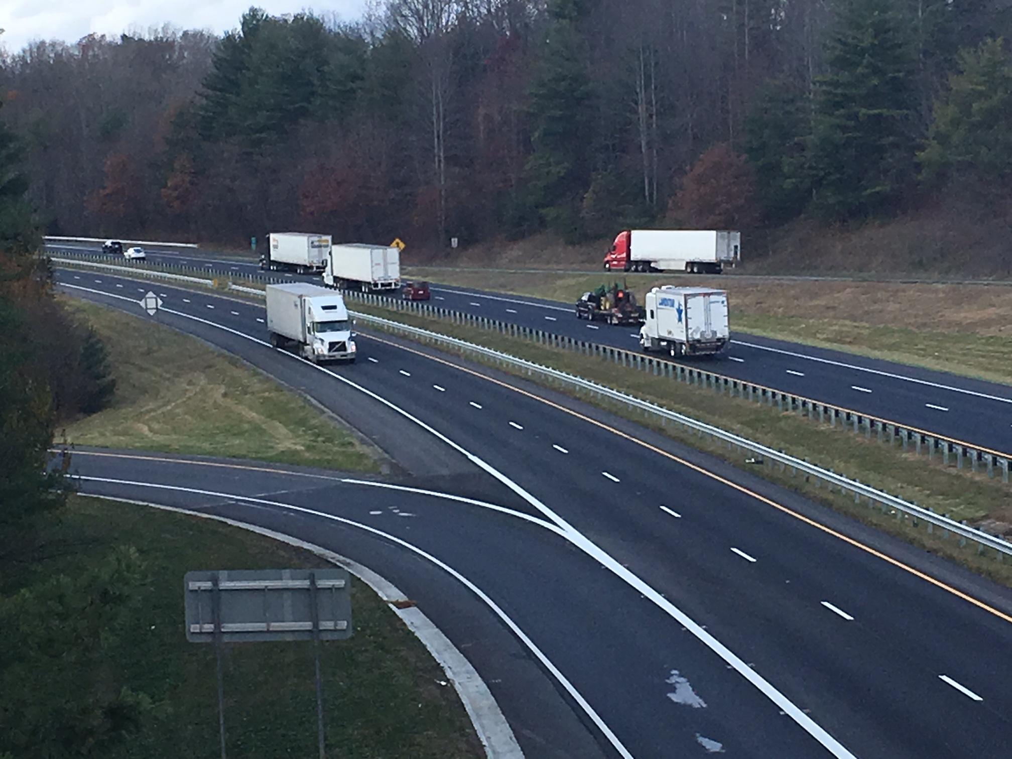 Thanksgiving travel will flow more easily now along Interstate 40 in Haywood County since work five sets of bridges on a seven-mile stretch has been completed early. (Photo credit: WLOS staff)