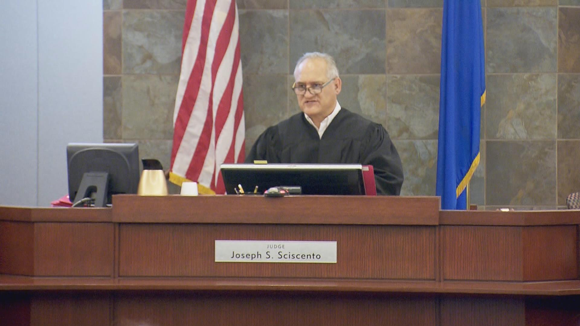 Judge Joseph S. Sciscento presides over court Wednesday, May 10, 2017, at the Regional Justice Center in Las Vegas. (Bradford Boyer/KSNV)