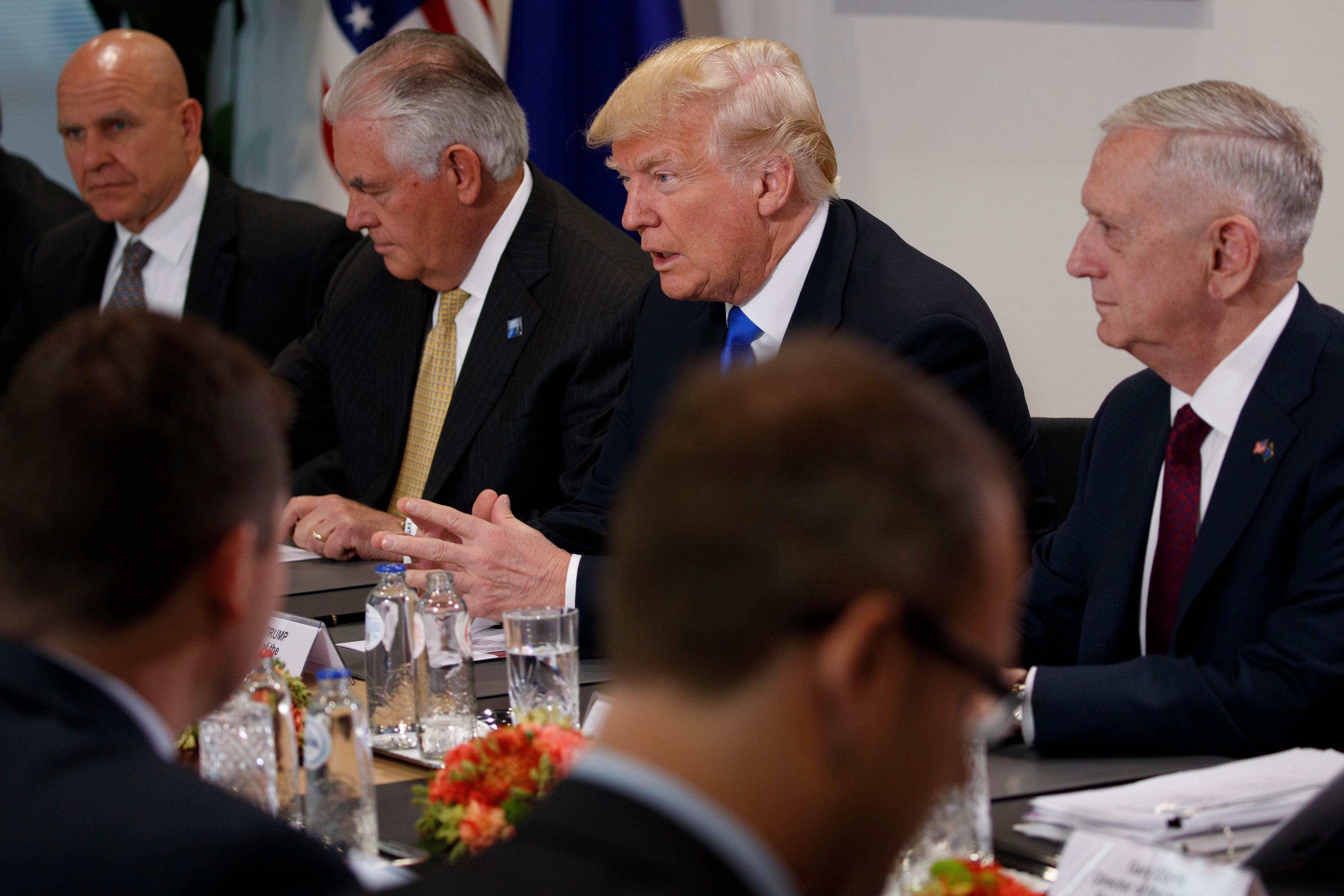 President Donald Trump speaks during a meeting with President of the European Commission Jean-Claude Junker and European Council President Donald Tusk at European Union headquarters, Thursday, May 25, 2017, in Brussels. From left, National Security Adviser H.R. McMaster, Secretary of State Rex Tillerson, Trump, and Secretary of Defense Jim Mattis. (AP Photo/Evan Vucci)