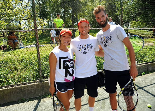 NEW YORK, NY - AUGUST 28:(L-R)   Tennis Player Kristie Ahn , Denis Kudla and Benoit Paire attend LACOSTE And City Parks Foundation Host Tennis Clinic In Central Park at Central Park Tennis Center on August 28, 2016 in New York City.  (Photo by Brad Barket/Getty Images for LACOSTE)