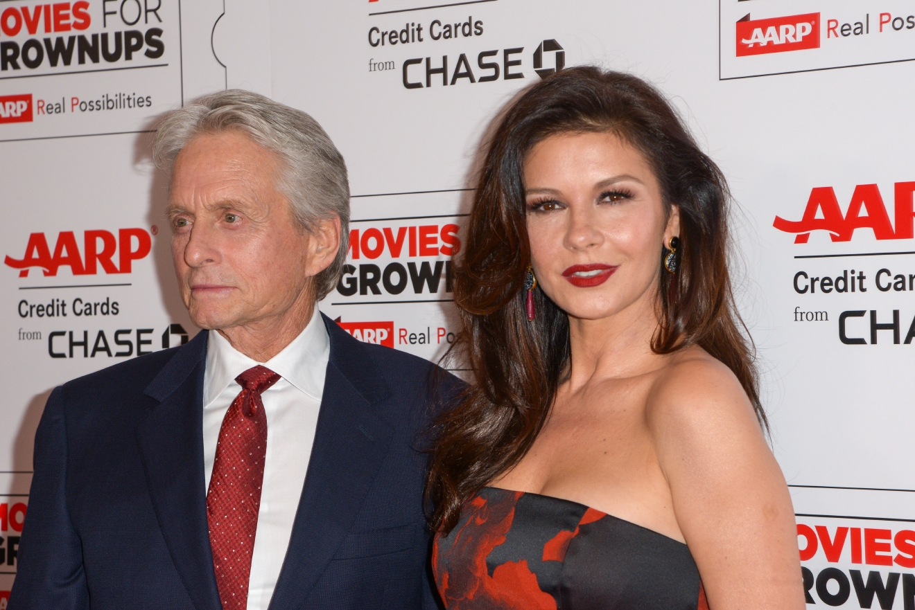 Michael Douglas and Catherine Zeta-Jones at the AARP's 15th Annual Movies For Grownups Awards at the Beverly Wilshire Four Seasons Hotel. (Charlie Steffens/WENN.com)