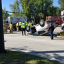 Car flips over outside Mt. Pleasant Towne Centre; injuries reported