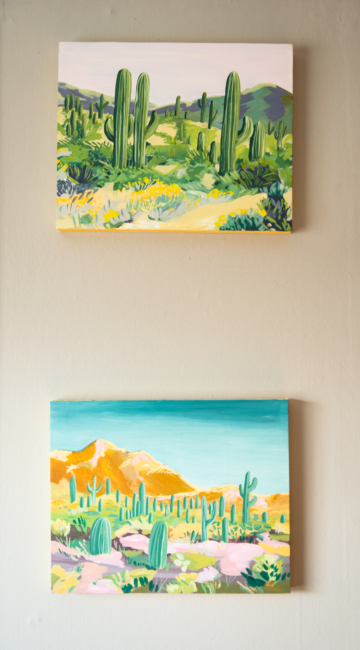 Some of Laura's own artwork adorns her home studio, including these paintings inspired by a recent trip to the Southwest. / Image: Melissa Sliney // Published: 3.26.20