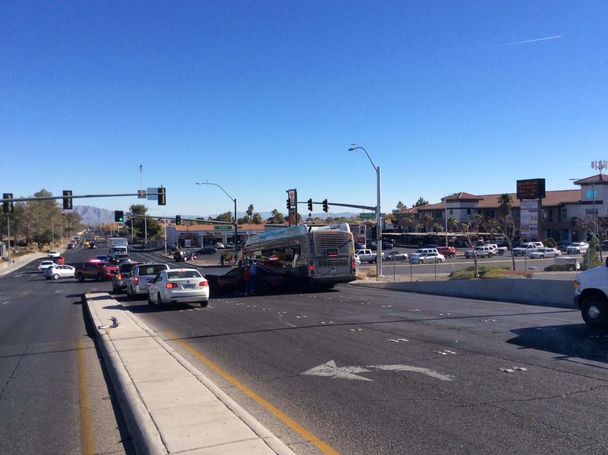 A crash involved an RTC bus and a white SUV near Rainbow &amp;amp; Washington on Saturday, Dec. 9, 2017. Two victims were transported to UMC for treatment. (LVF&amp;amp;R photo)<p></p>