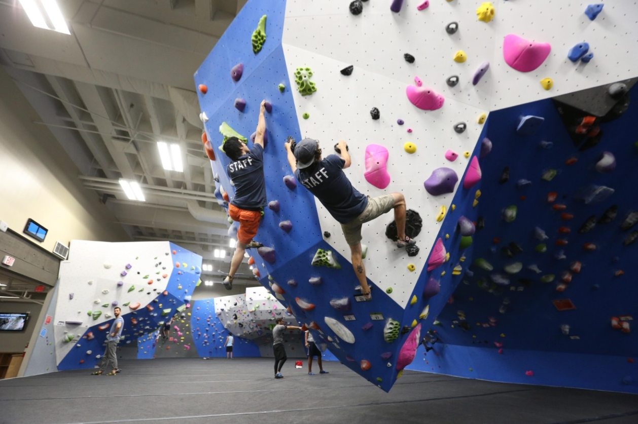Does the rain have you feeling a little sluggish? Get your sweat on with a rock climbing session at Earth Treks in Crystal City. PRICE: $25 per climber. (Photo: Amanda Andrade-Rhoades/DC Refined)
