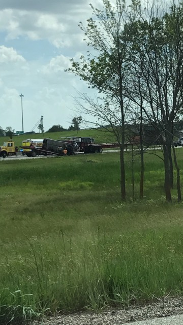 Illinois State Police are reporting van and semi-truck were in a collision on 55 South near Broadwell. (Photo Courtesy of Kristin Nicole)