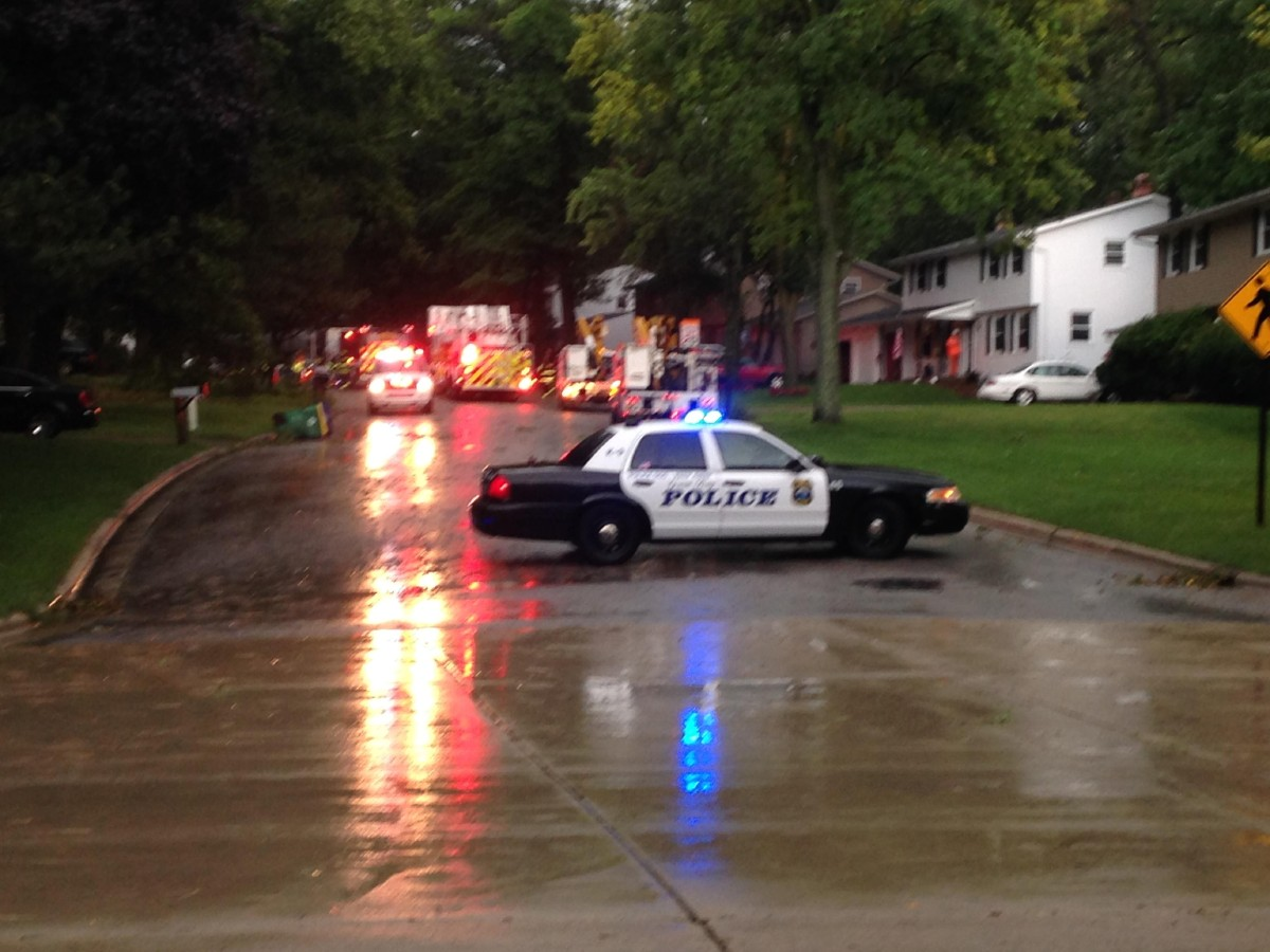 Aug. 14: Emergency crews and WPS out on Beach Tree road in Green Bay. (WLUK/Ben Krumholz)