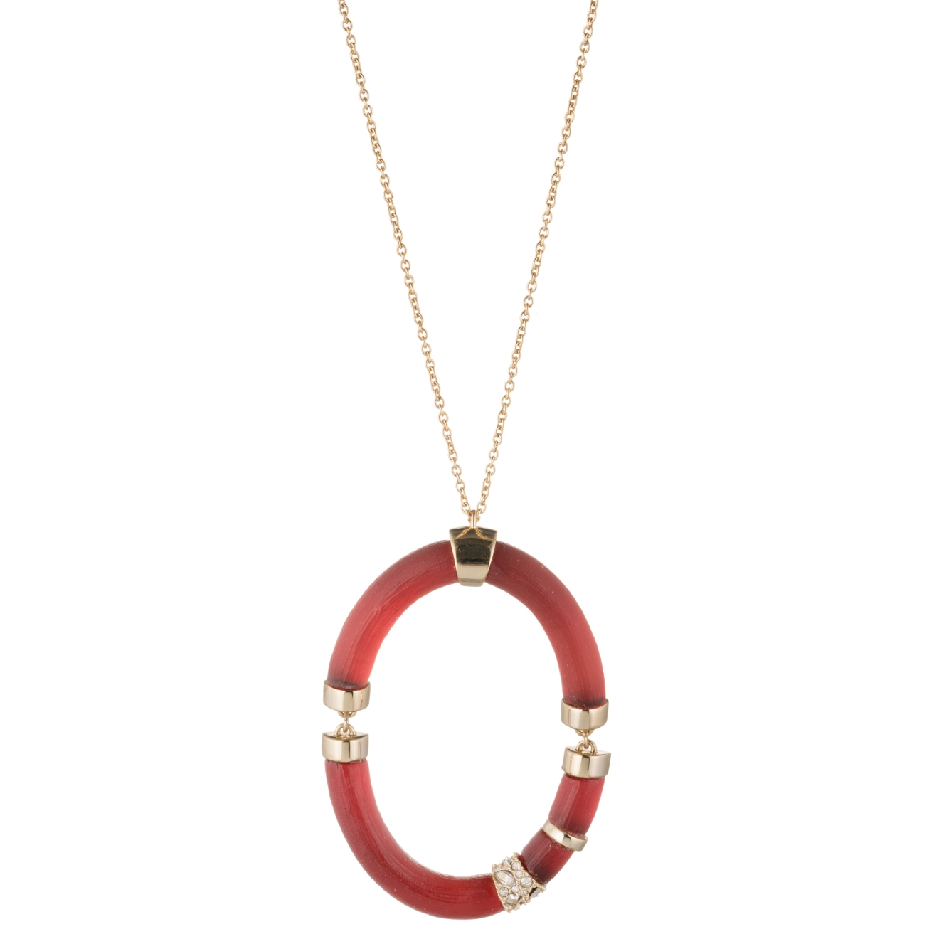Long necklaces are an easy way to add a little pizazz to any ensemble. Alexis Bittar Colorblock Long Oval Pendant, $225, alexisbittar.com (Image: Courtesy Alexis Bittar)