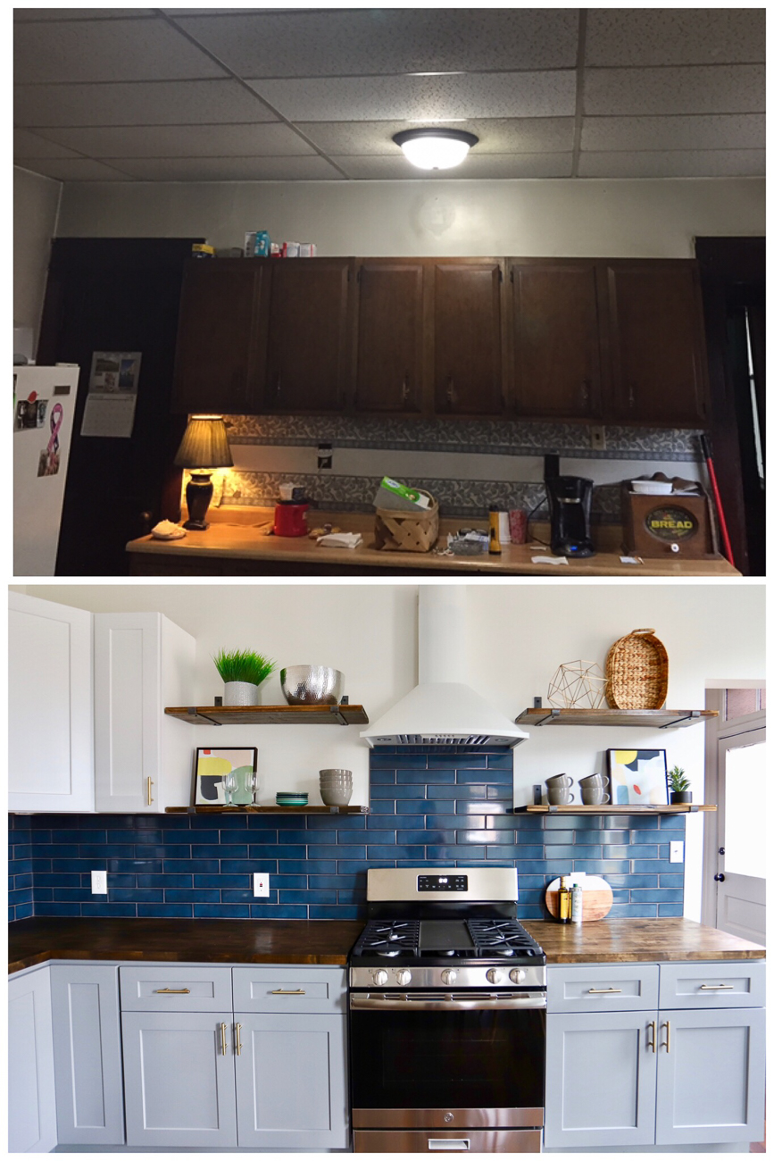 Before and after: the kitchen was laid out differently during the renovation. Removing the previous pantry and adding new cabinetry and open shelving allowed the new kitchen to breathe while ultimately improving its overall aesthetic. / Image courtesy of Nicole Nichols // Published: 4.10.19
