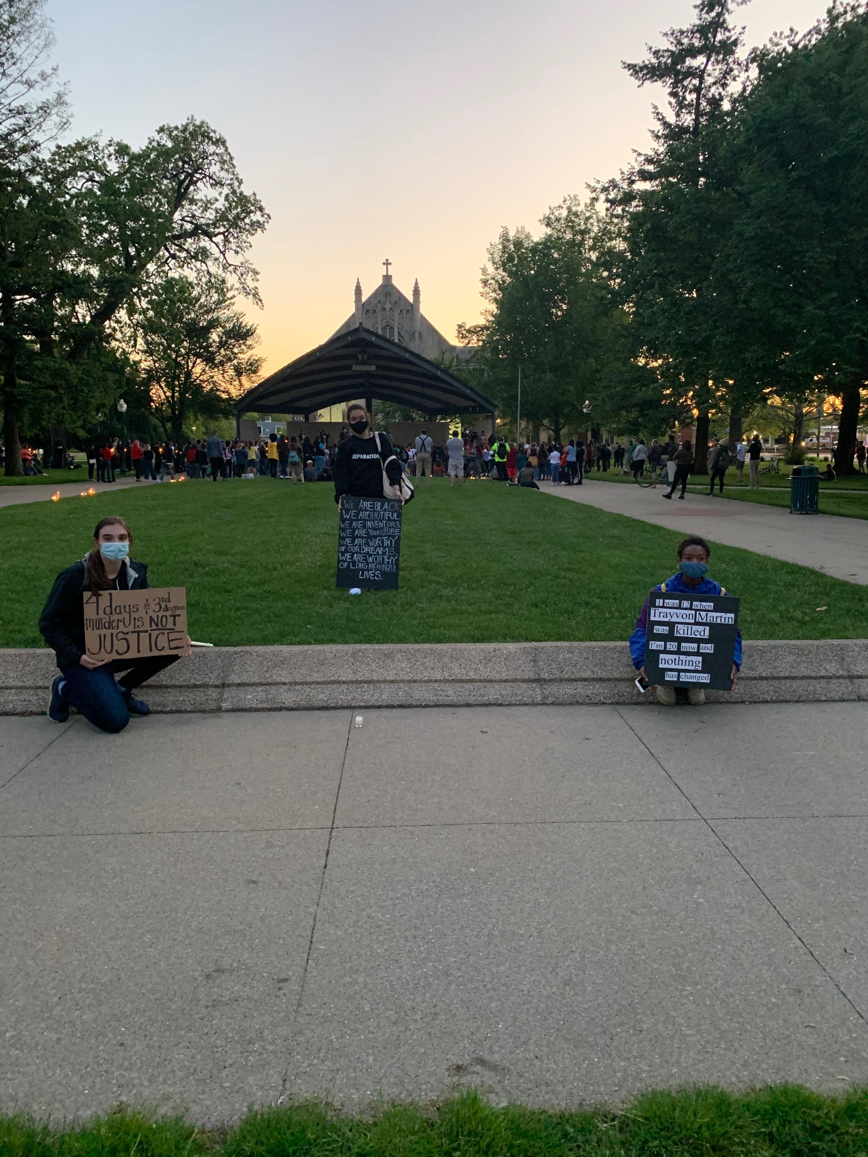 Three women, Danielle Ellis, Maya James and Lizzie Kimmel organized a peaceful demonstration held in Kalamazoo, followed by a candelight vigil for George Floyd on Saturday, May 30, 2020. (WWMT/Courtesy Maya James)