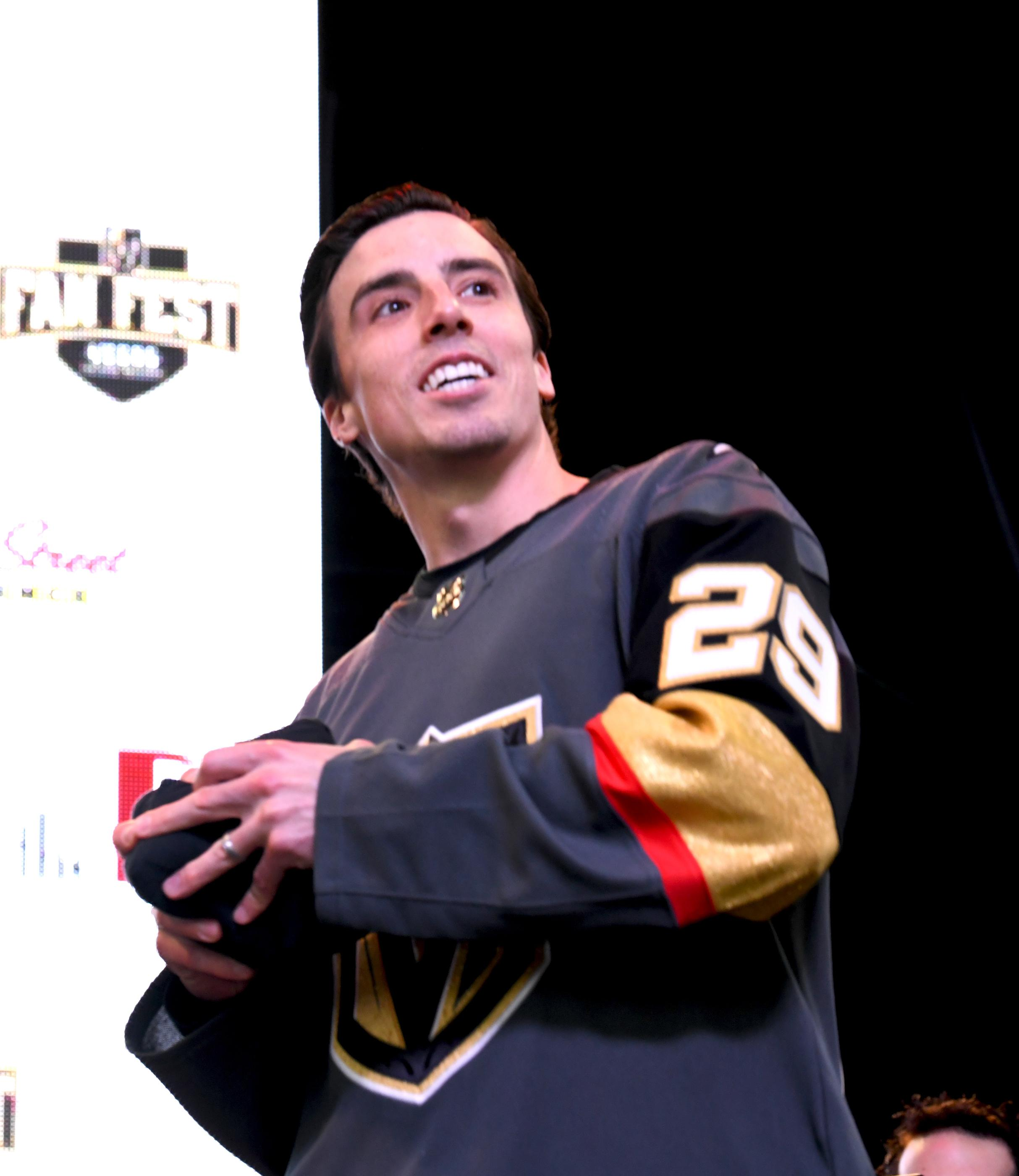 The Golden Knights host a Fan Fest with the D Las Vegas and Fremont Street Experience. Las Vegas Golden Knights G0alie Marc-Andre Fleury prepares to throw a t-shirt to fans as the team takes the stage at Fremont Street Experience. Sunday, January 14, 2017. CREDIT: Glenn Pinkerton/Las Vegas News Bureau