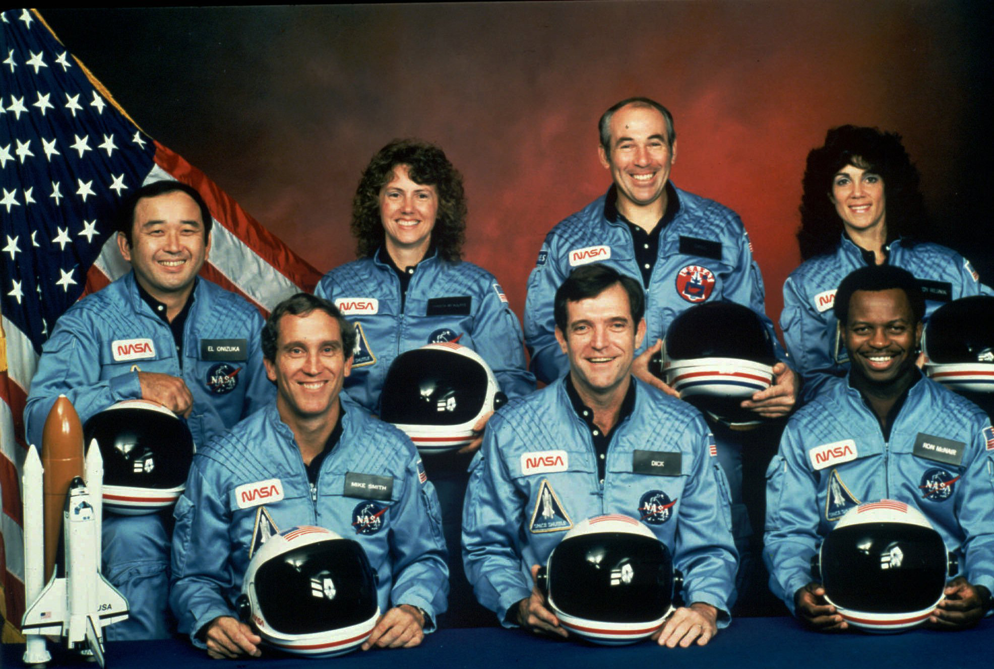 FILE - This photo provided by NASA shows the crew of the Space Shuttle Challenger mission 51L. All seven members of the crew were killed when the shuttle exploded during launch on Jan. 28, 1986. Front row from left are Michael J. Smith, Francis R. (Dick) Scobee, and Ronald E. McNair. Front row from left are Ellison Onizuka, Christa McAuliffe, Gregory Jarvis, and Judith Resnik. (NASA via AP)