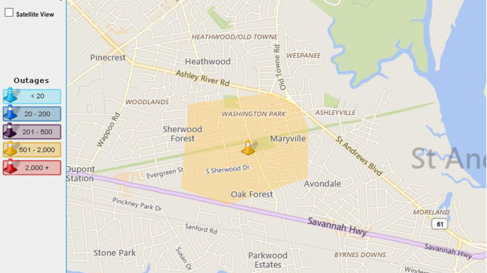 Berkeley Power Outage Map.Power Outage Reported In West Ashley Early Monday Wciv