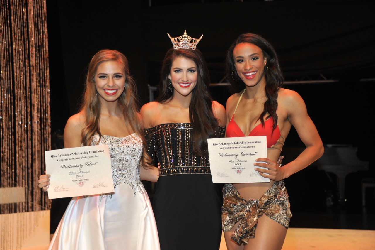 Miss Arkansas Tech University Kelsey Stone (L) received an Alpha Award for Talent Vocal. Miss Arkansas Delta Ashley Ehrhart won the Swimsuit preliminary Alpha Award. (Photo: Danny Barger Photography)