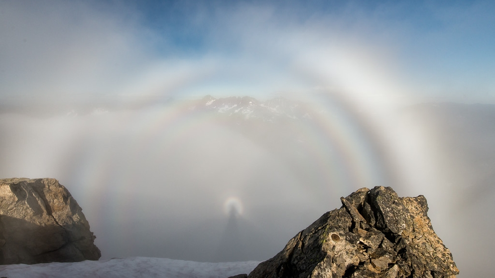 Well 'halo' there: Hiker snaps fantastic photos of 'brocken spectre' & 'glory' effects