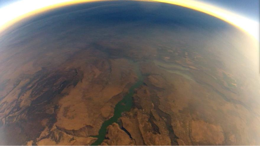 Photo from stratospheric balloon shows the total eclipse shadow travel across the Oregon countryside. (Photo: Liem Bahneman)