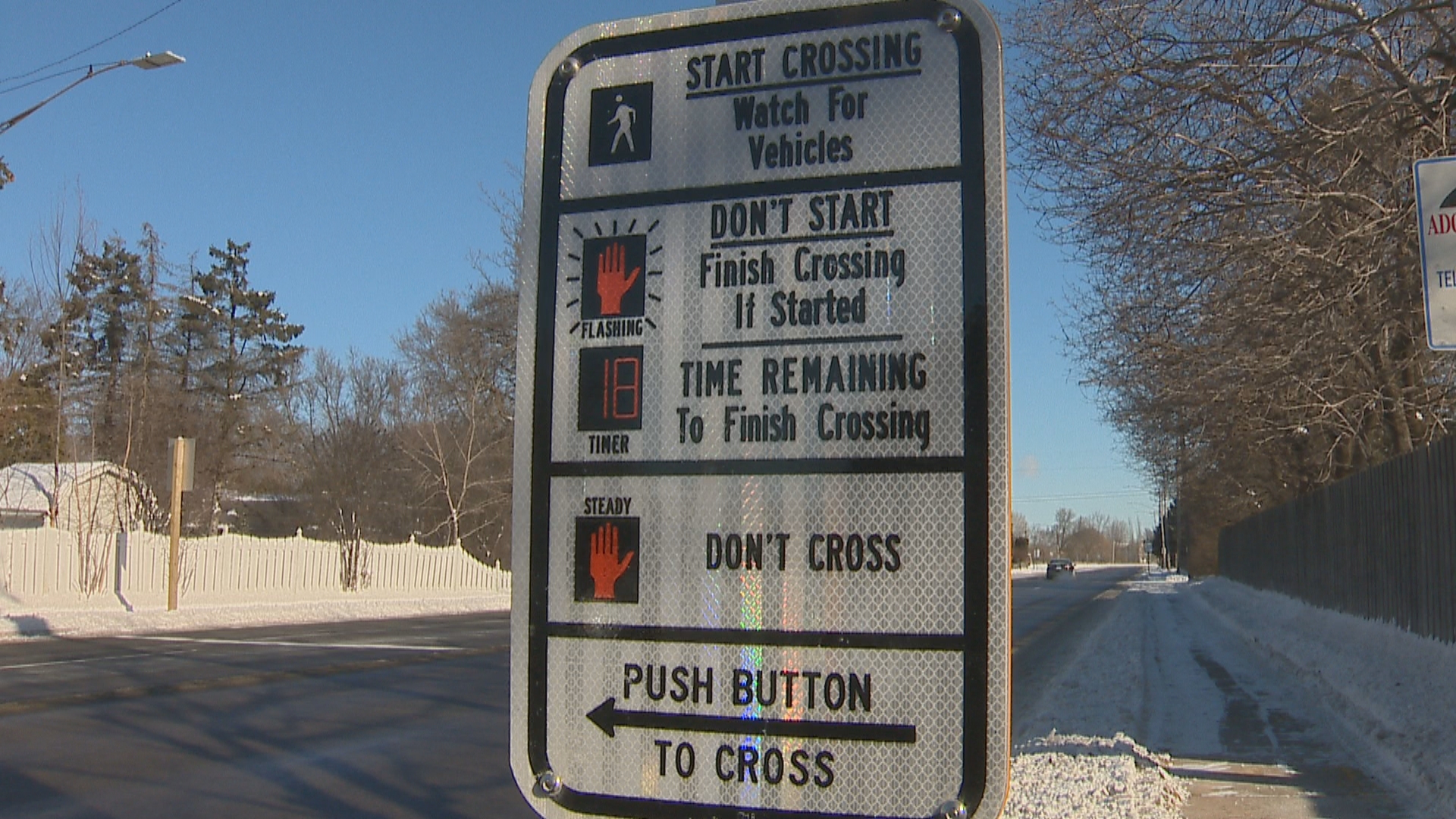 New pedestrian hybrid beacon on Riverside Drive in Allouez, February 6, 2018. (WLUK)