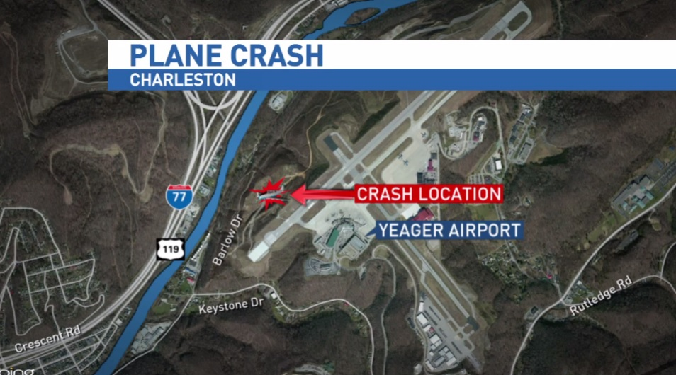 Map shows the site of a plane crash at Yeager Airport. (Bing Map)