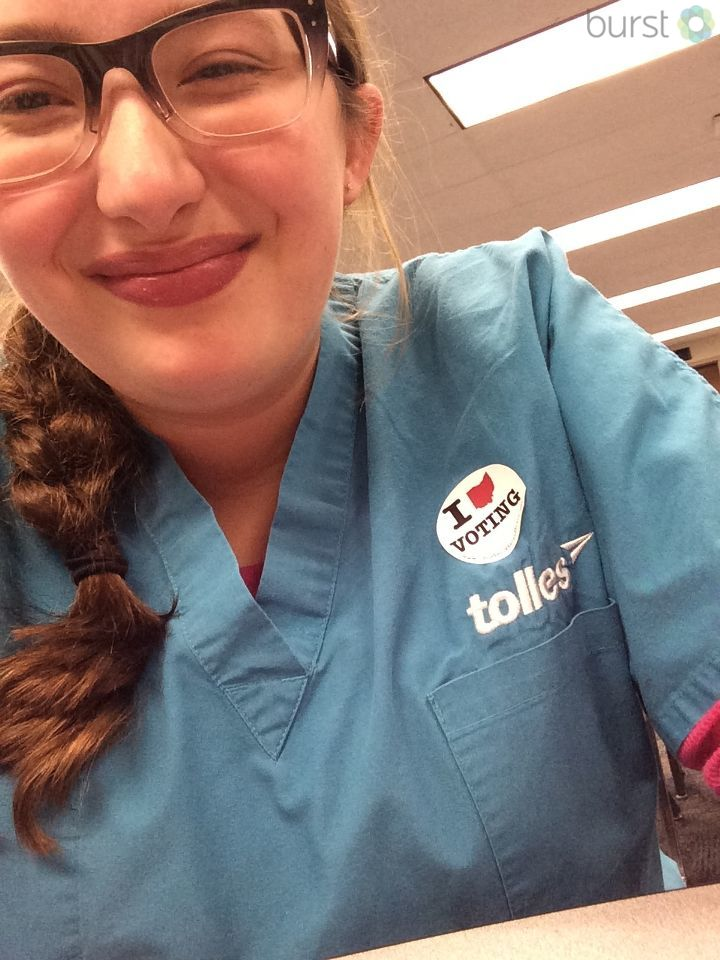 Wearing a voter sticker with a smile! (submitted via Burst)