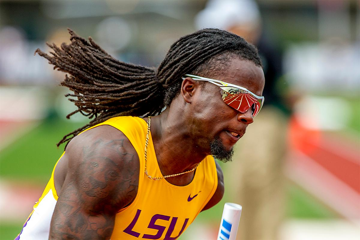 LSU's Donte Jackson sprints out of the blocks in heat three of the 4x100 meter relay. LSU would take second in their heat and qualify with a time of 38.89. Photo by August Frank, Oregon News Lab