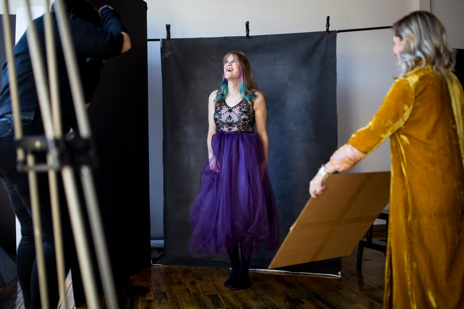 Erica Sciarretta of Sorella Photos photographs Monika Hawkinson for her first professional photoshoot in SODO. (Sy Bean / Seattle Refined)