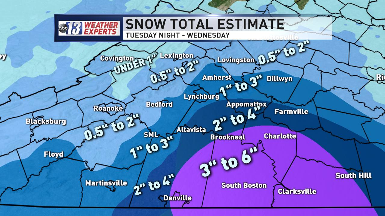 1&quot; to 3&quot; totals will be common, higher amounts across Southside<p></p><p><br></p>