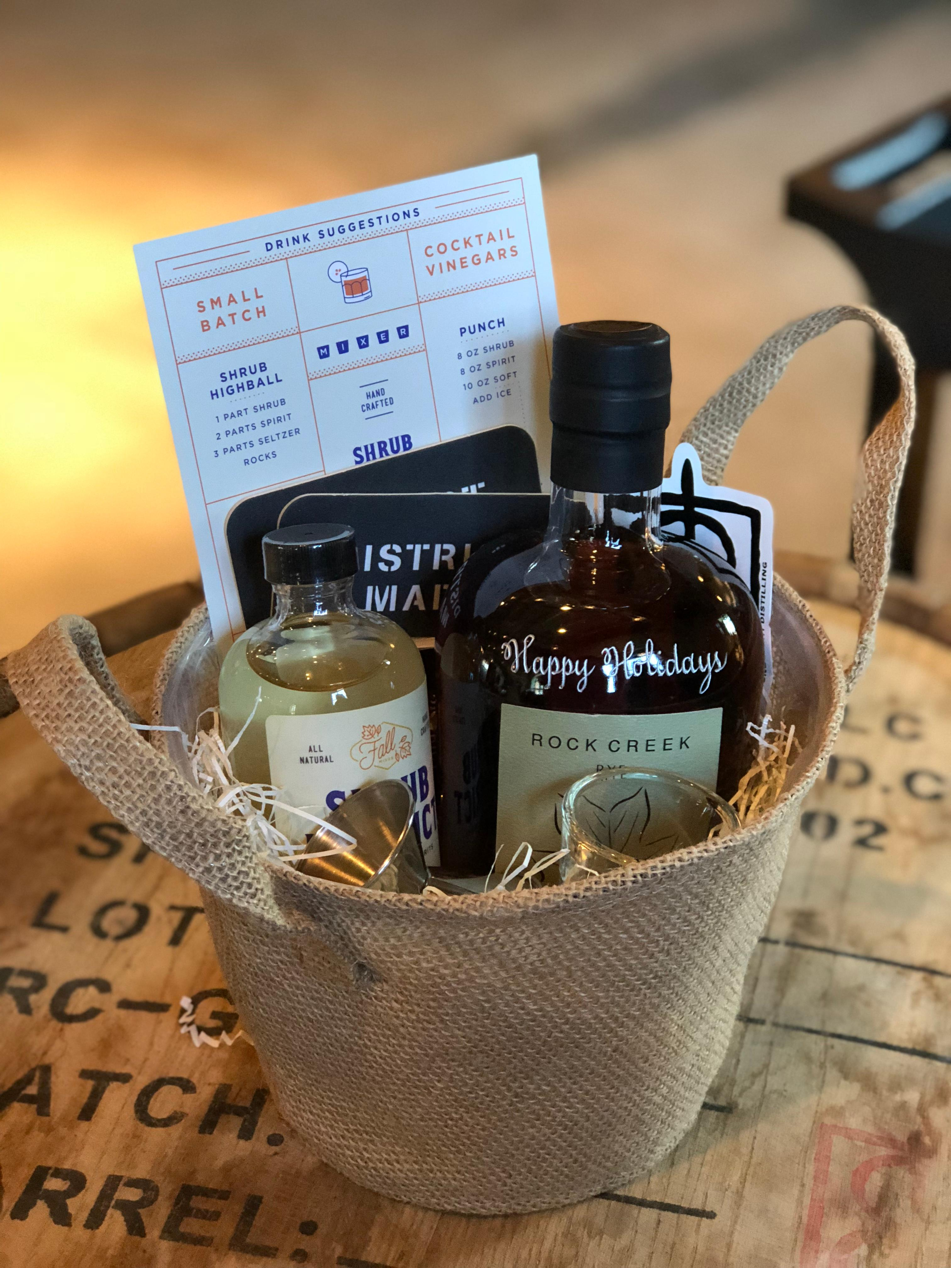 <p>Custom Engraved Bottle of Rock Creek Bourbon or Drink Local Kit from One Eight Distilling // Price: $50-$79.99 // Buy at the Tasting Room or the Dupont FreshFarm Market // www.oneeightdistilling.com // (Image: One Eight Distilling)<br></p>