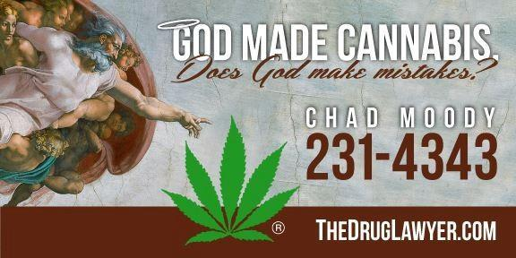 "The self-described 'Drug Lawyer"" says vandals have destroyed this billboard he paid for in downtown Oklahoma City that ties marijuana to religion."