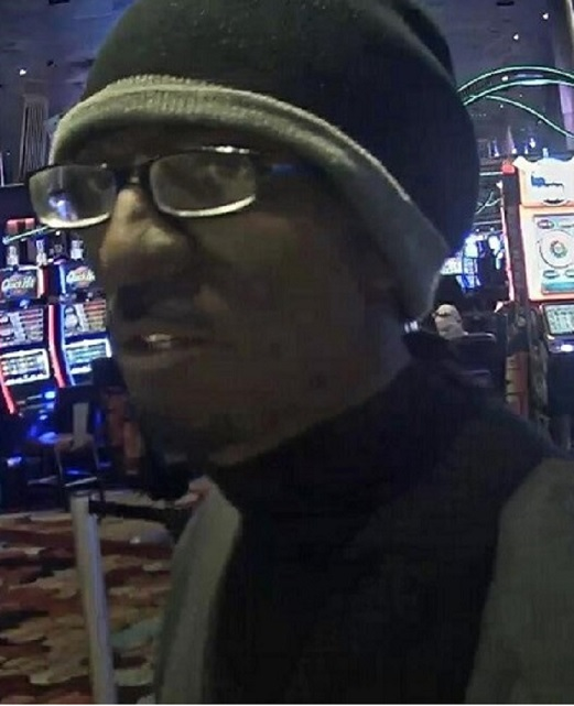 A surveillance photo shows the suspect in a Jan. 10, 2018, armed robbery of a major Strip casino cashier's cage. (LVMPD photo)<p></p>