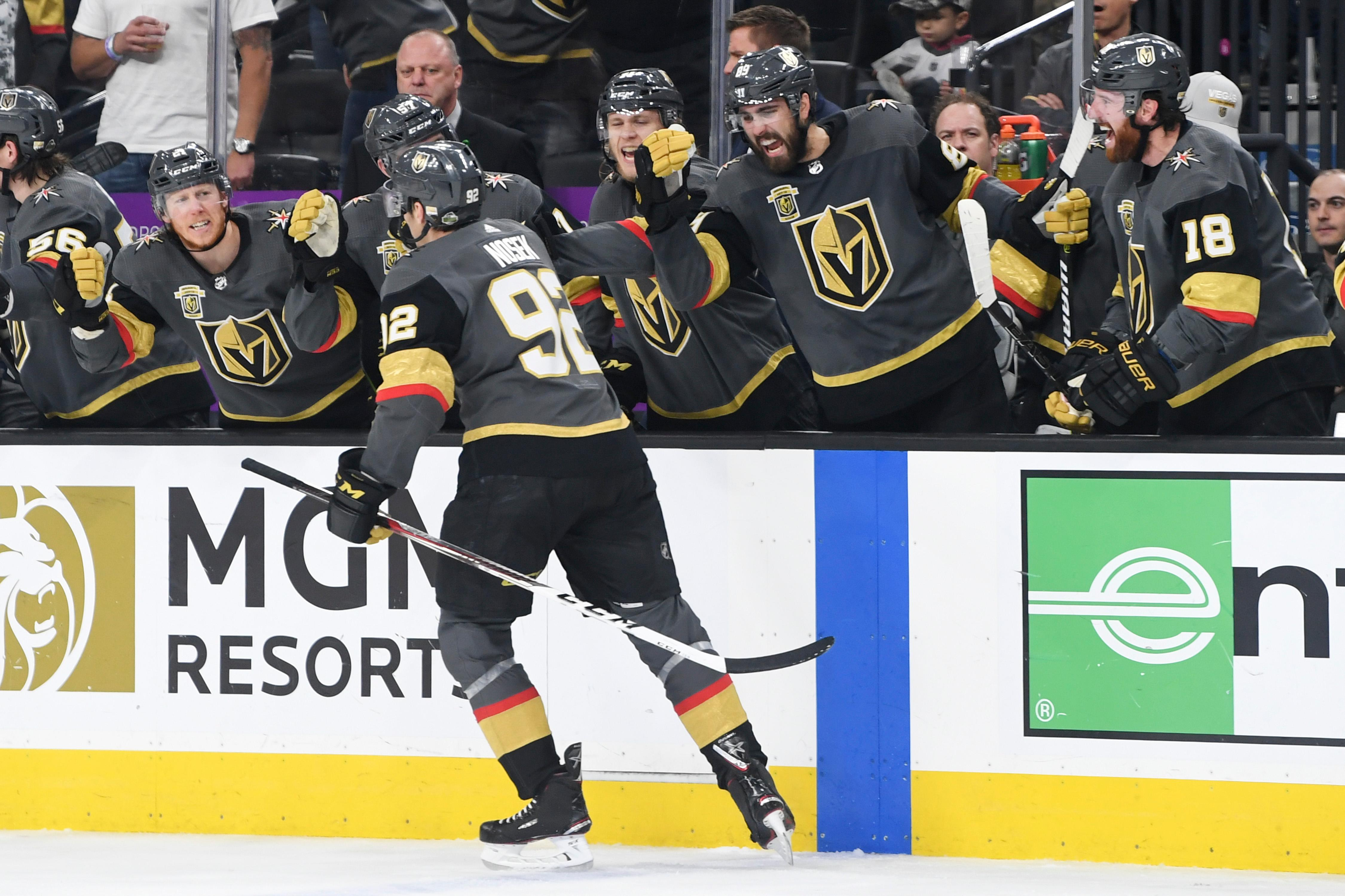 Vegas Golden Knights players congratulate left wing Tomas Nosek (92) after scoring a goal against the Winnipeg Jets during Game 4 of their NHL hockey Western Conference Final game Friday, May 18, 2018, at T-Mobile Arena. CREDIT: Sam Morris/Las Vegas News Bureau