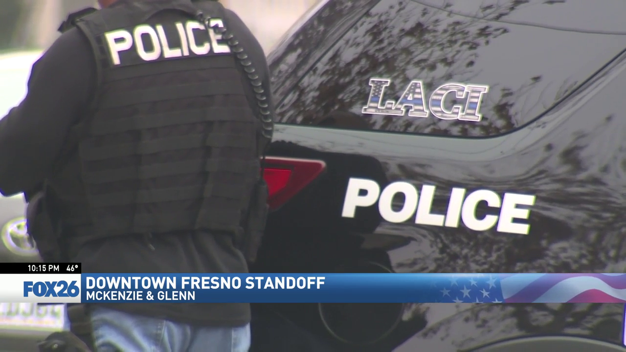 Fresno Police standoff scene. Officers surrounded an apartment building. (FOX26)