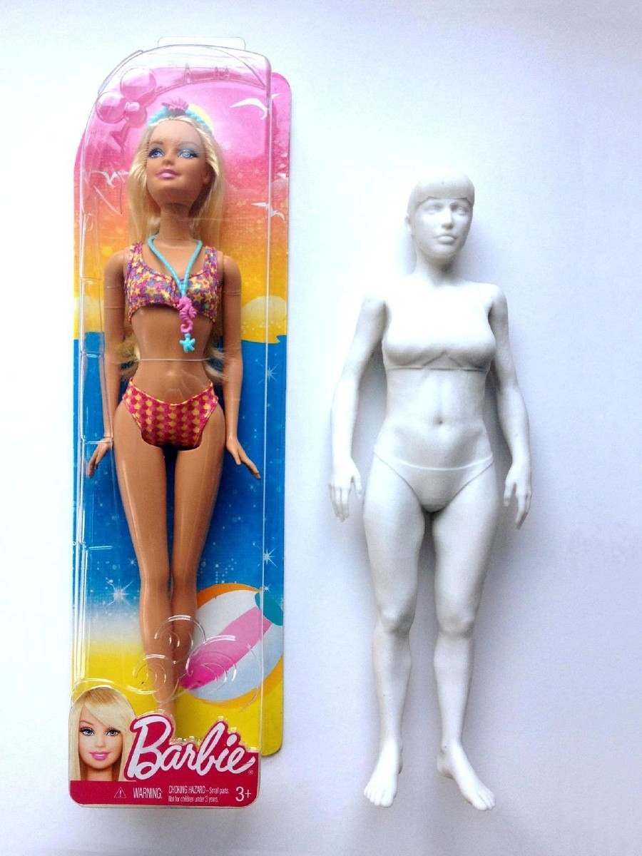 Barbie's height, bust, stomach, legs, and more all drastically different from the model.