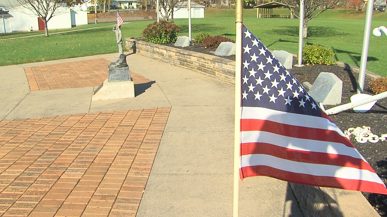 Sometime between Sunday, November 5, and Wednesday, November 8, a person or group of people vandalized a bronze memorial sculpture at VFW Post 8495 on Macedon Center Road in Fairport. (WHAM photo)
