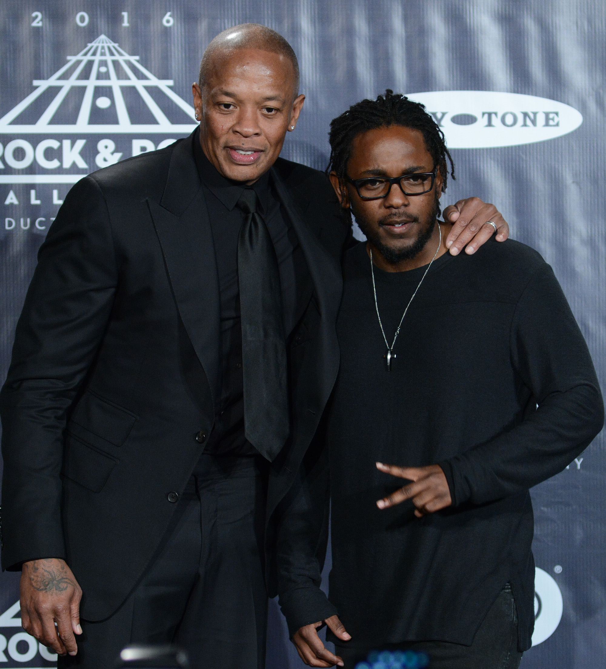 31st Annual Rock And Roll Hall Of Fame Induction Ceremony - Press Room                                    Featuring: Dr. Dre, Kendrick Lamar                  Where: New York, New York, United States                  When: 08 Apr 2016                  Credit: Ivan Nikolov/WENN.com