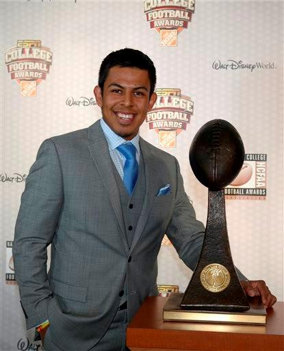 Florida State kicker Roberto Aguayo poses with the Lou Groza Collegiate Place-Kicker Award after winning the honor during the College Football Awards show in Lake Buena Vista, Fla., Thursday, Dec. 12, 2013.