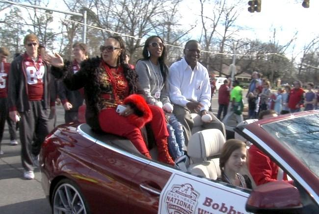 Alabama special teams coach Bobby Williams and his family during the BCS National Championship parade on Saturday, January 19, 2013.