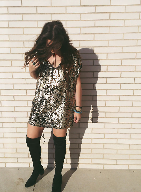 The ultimate party girl outfit.  Birthday, Bachy party, Girls night - it works for all those fun nights out.  Plus these boots can transition well to everyday wear with an outfit change.  (Image: Free People)