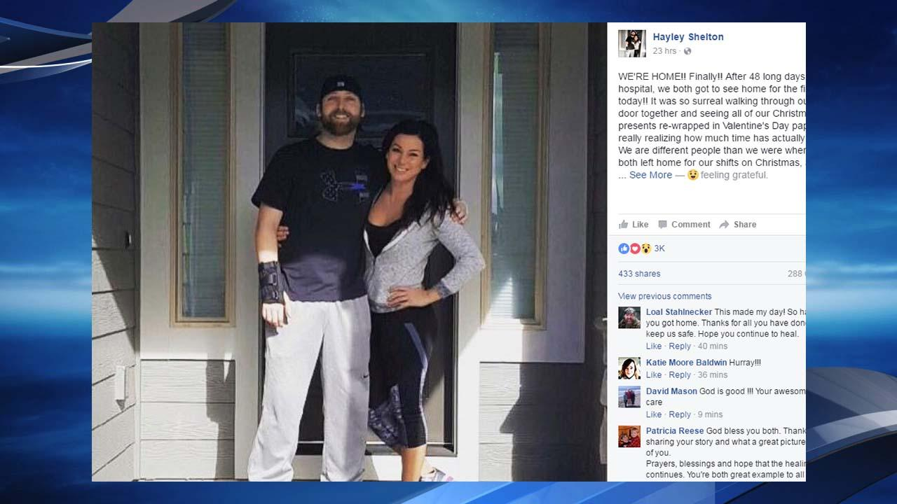 Trooper Cederberg with wife Shelton (Screen grab of Shelton's Facebook post).
