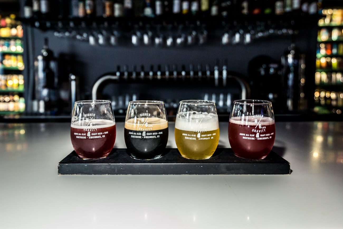 A flight featuring Rhinegeist's fruited sour Honoblublu, 50 West's coffee stout Coffee Please, Jackie O's smooth sipper Ricky, and Untitled Art's Brut Rose / Image: Catherine Viox // Published: 9.16.19