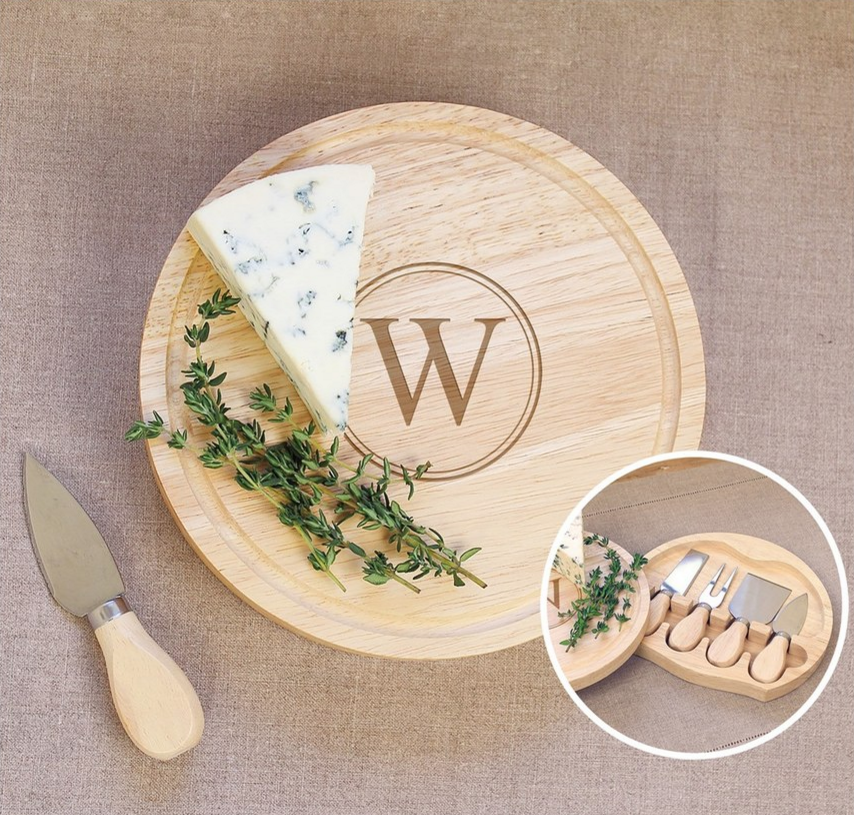 CATHY'S CONCEPTS 5-Piece Monogram Cheese Board & Utensil Set ($48.00). Find on nordstrom.com. (Image: Nordstrom)
