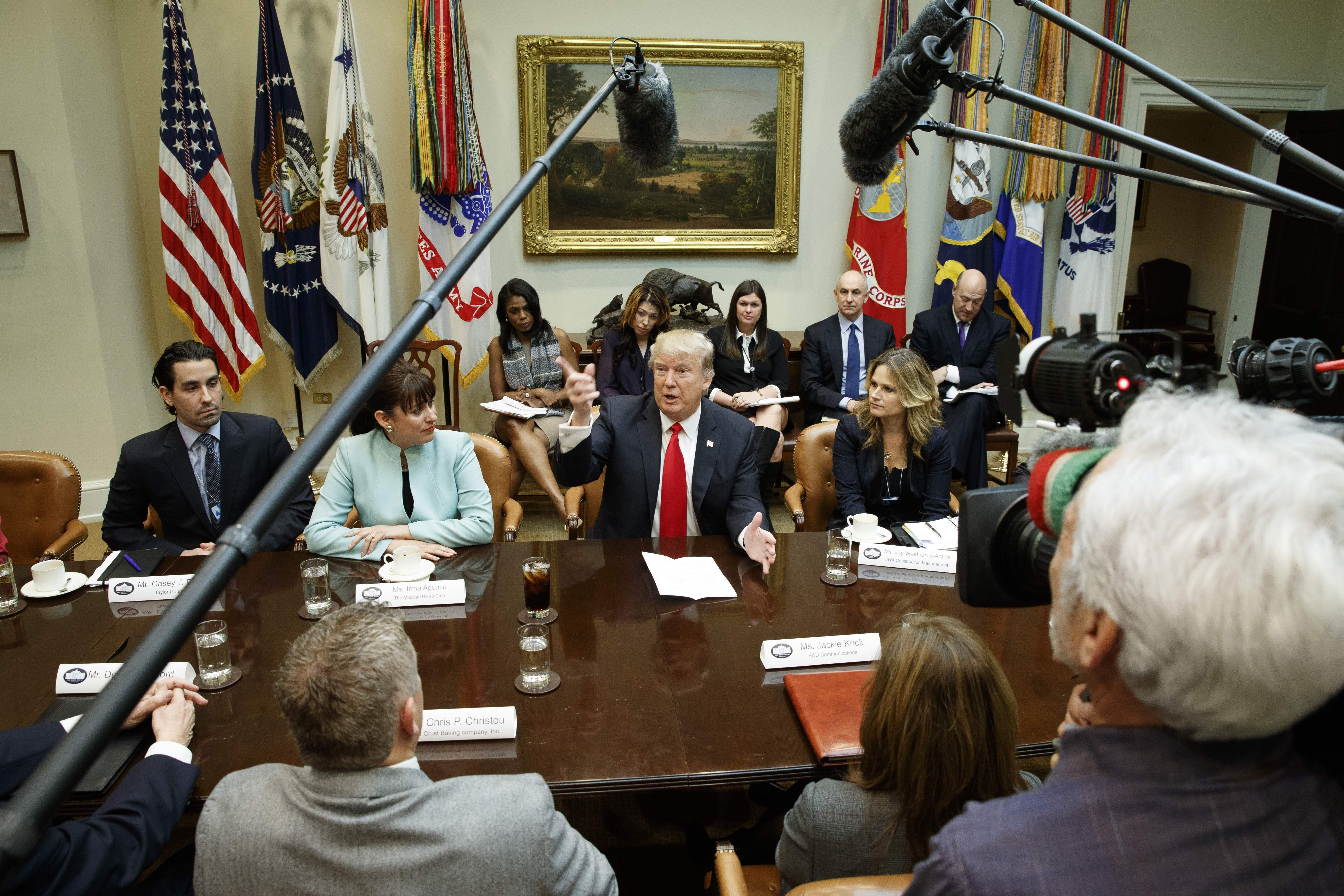 DAY 11 - In this Jan. 30, 2017, file photo, President Donald Trump speaks during a meeting with business leaders in the Roosevelt Room of the White House in Washington. (AP Photo/Evan Vucci, File)